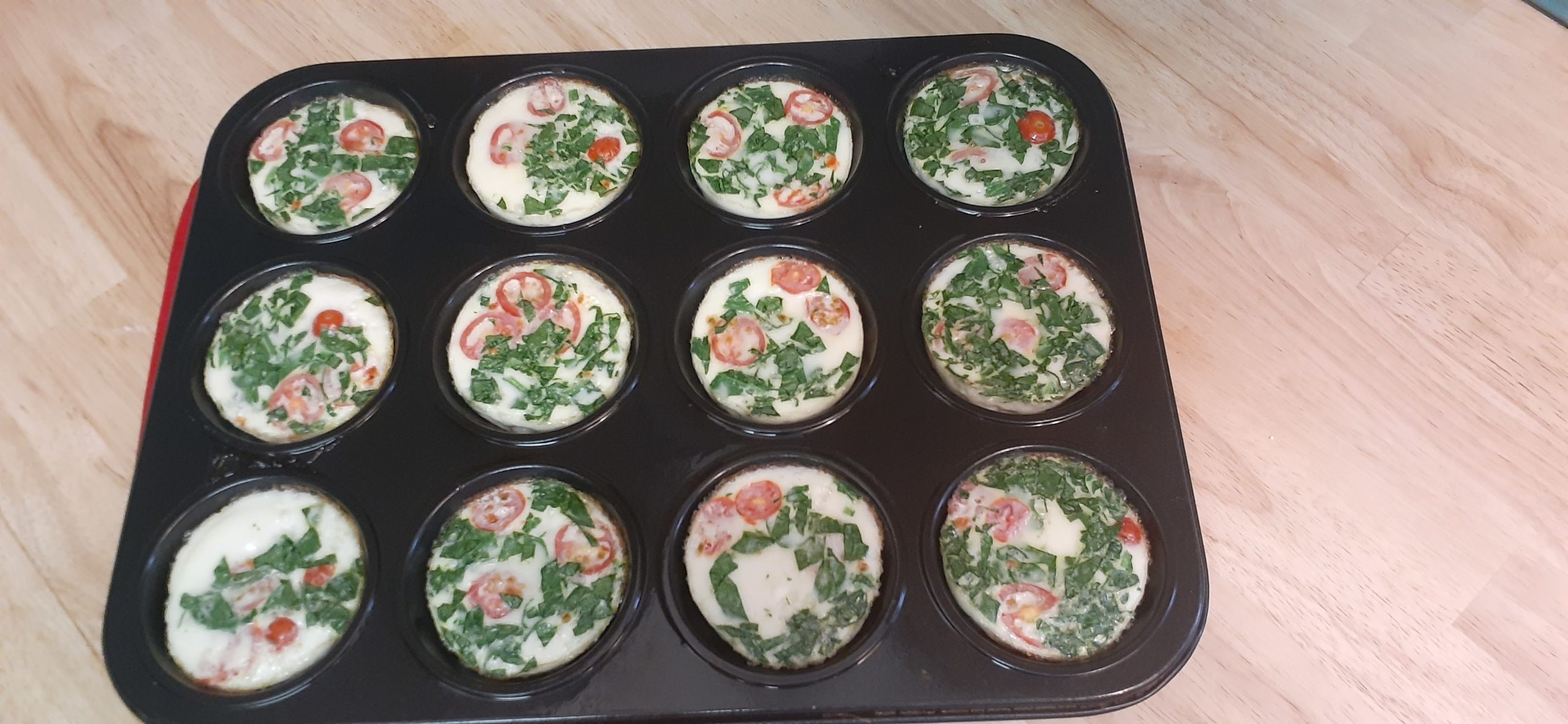 Fully cooked Healthy Egg White Veggie Muffins